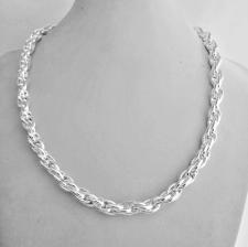 Collana artigianale in argento 925 MASSICCIO maglia ovale doppia. Larghezza 7mm.