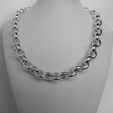 Sterling silver oval belcher necklace