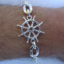 Bracciale nautico uomo in argento 925, timone.