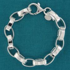 Bracciale in argento 925 MASSICCIO, rolo ovale 9,5mm, filo piatto.