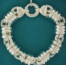 Women's sterling silver bracelet round link bracelet