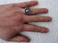 Anello uomo argento brunito con gufo