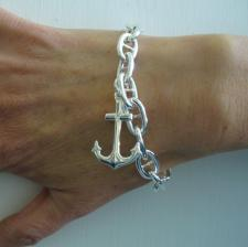 Sterling silver anchor chain bracelet