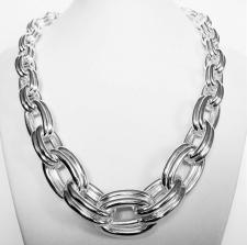 Sterling silver graduated double oval link necklace 22-12mm. Hollow chain. 121 grams.
