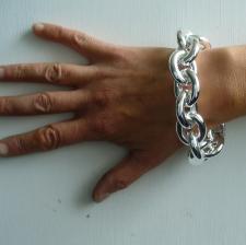 Sterling silver large oval link bracelet