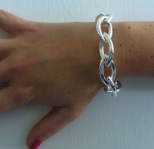 Sterling silver women's bracelet. Handmade ogival link bracelet