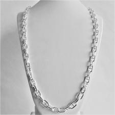 Solid sterling silver anchor chain necklace 8mm. LENGTH 65 CM.