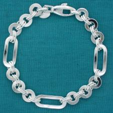 Sterling silver men's bracelet. Round & rectangular link.
