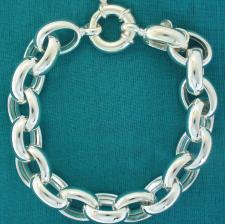 Sterling silver oval rolo link bracelet 13mm. Hollow chain. Oval belcher bracelet.