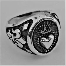 Anello chevalier cuore sacro in argento