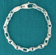 Sterling silver men's chain bracelet. Solid oval link 2+2.