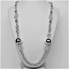Long sterling silver necklace with beads.