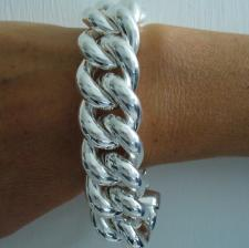 Sterling silver hollow curb bracelet