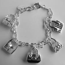 Silver bag charm bracelet