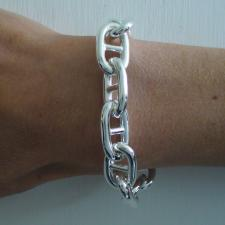 Sterling silver anchor chain bracelet 14mm