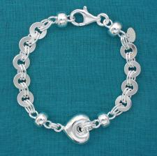 925 silver bracelet with heart 16mm.