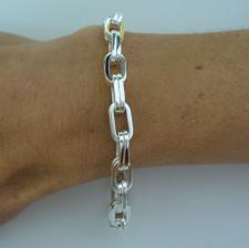 Solid sterling silver double square link bracelet 7mm.