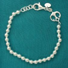 Sterling silver men's beads bracelet with anchor. Beads 6mm.