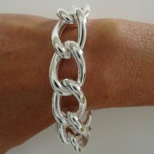 925 sterling silver curb bracelet 18mm.