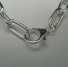 Catena in argento 925 collana maglia allungata _ Gioielli in argento grandi