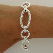 Sterling silver textured link bracelet 14mm. Made in Tuscany.