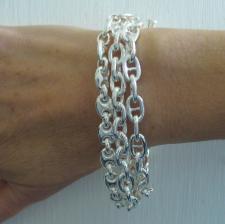Bracciale argento 925 3 catene chiusura barretta Baton.