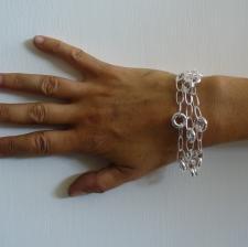 Sterling silver bracelet round oval link bracelet.
