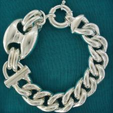 Sterling silver large maglia marina-curb link chain bracelet 27mm.
