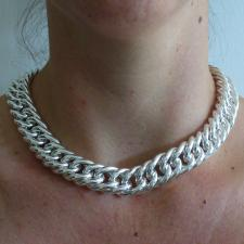 Silver double curb link necklace