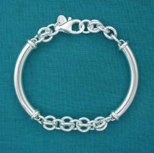 925 silver semi-bangle cestina link bracelet 8mm.