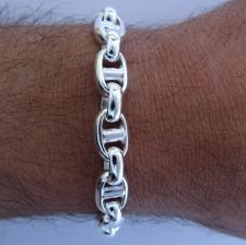 Handmade silver bracelet made in Italy, 9mm.