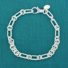 Sterling silver textured link bracelet 6mm
