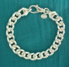 Sterling silver hollow curb bracelet 10mm.