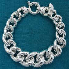 Sterling silver graduated curb bracelet