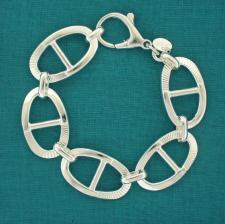 Handmade textured oval link bracelet