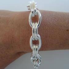 Sterling silver double oval link bracelet 12mm. Hollow chain.