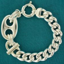 Silver maglia marina link chain bracelet