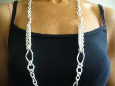 Long sterling silver necklace cm 90 made in Italy