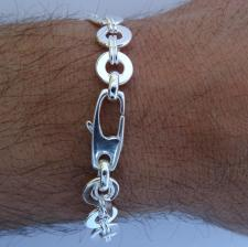 Silver identity bracelet for men