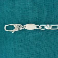 Sterling silver men's oval link bracelet