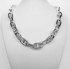 Sterling silver women's anchor chain link necklace