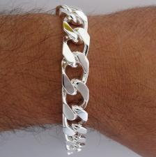 Bracciale grumetta uomo diamantata 2 lati. Larghezza 12mm.