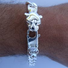 Sterling silver men's panther bracelet 10mm.
