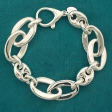 Bracciale artigianale argento 925 maglia forzatina ovale asimmetrica e maglia marina. Larghezza 1...
