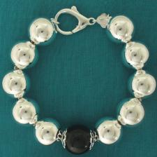 Sterling silver bead bracelet for woman - 16mm with black onyx bead