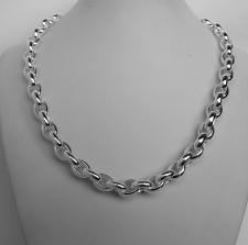 Sterling silver oval rolo link necklace 8,5mm. Hollow chain. Oval belcher necklace.