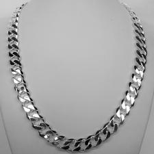 Sterling silver solid diamond cut curb necklace 12mm x 3,3mm. LENGTH 50 CM.