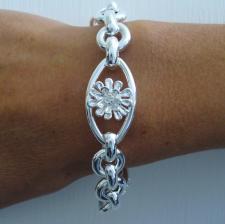 Sterling silver floral flower bracelet