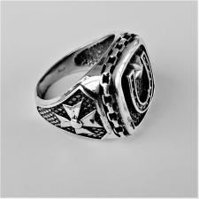Anello chevalier argento con ferro di cavallo