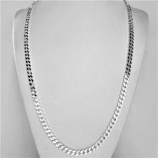 Sterling silver solid diamond cut curb necklace 5mm x 2mm. LENGHT 60 CM.